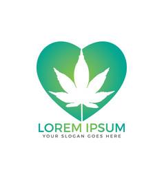 heart symbol with cannabis leaf inside logo design vector image