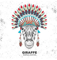 Hipster giraffe with indian feather headdress vector
