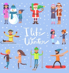 I like winter poster with sportive happy people vector