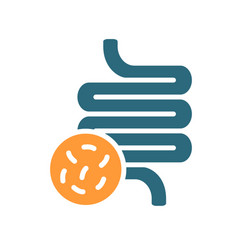 Intestine with bacteria colored icon diseased vector
