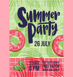 invitation template for summer open air party with vector image