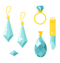 jewelry items gold elegance gemstones vector image