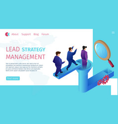 Lead strategy management horizontal flat banner vector