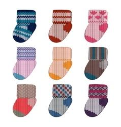 Little knitting socks set Children theme vector