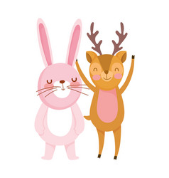little rabbit and deer cartoon character on white vector image