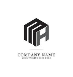 m h initial logo designs h creative logo vector image