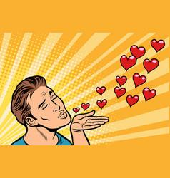 Man air kiss heart vector