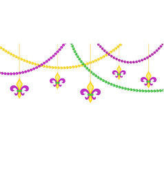 mardy gras border with beads isolated on white vector image