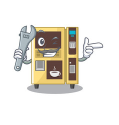 Mechanic coffee vending machine in cartoon vector