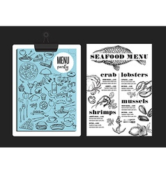 Menu seafood restaurant food template placemat vector image