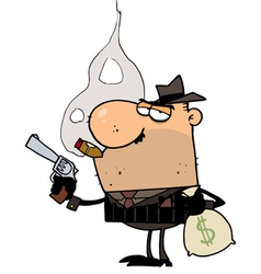 Mobster Holds Gun and Sack of Money vector