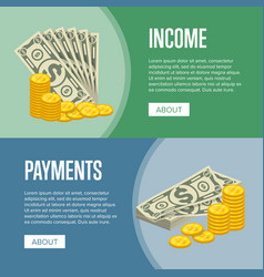 Money income and easy payments flyers vector