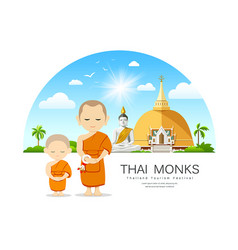 Monks and novices in thailand have temple vector