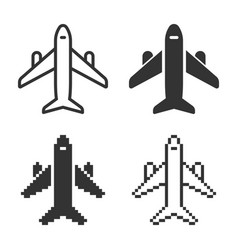 monochromatic plane icon in different variants vector image