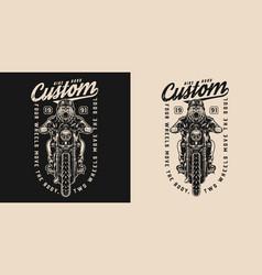 Motorcycle vintage monochrome print vector