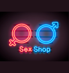 neon sex shop red sexy symbol banner vector image