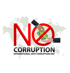 no corruption sign day with hand businessman vector image