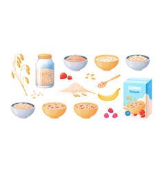 oat breakfast cartoon oatmeal bowl boiled vector image
