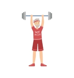 Old Man Weight Lifting In Gym vector