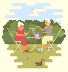 Old women have a tea party vector