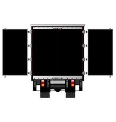 Open lorry rear doors vector