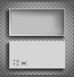 Open white empty cardboard box top view vector