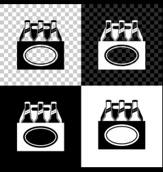 pack beer bottles icon isolated on black white vector image