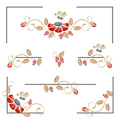 Pages decoration with poppies and bees vector