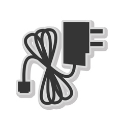 Plug and wire isolated flat icon in blackand white vector image