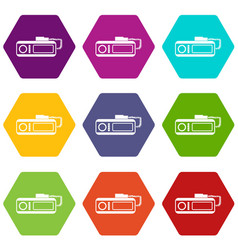 Radio taxi icon set color hexahedron vector