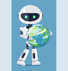 robot holding globe in hands vector image