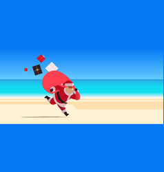Santa claus running with big sack full gifts vector