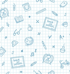school doodle pattern on a notebook paper vector image