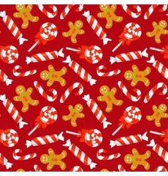 Seamless pattern with cute cartoon Christmas candy vector image