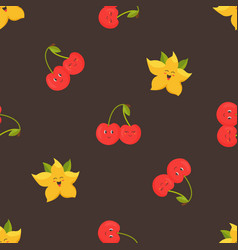 seamless pattern with funny dragon fruits and vector image