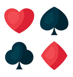 set four playing cards symbols vector image