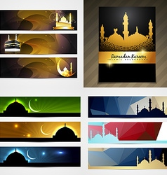 set of attractive banner of eid festival vector image vector image