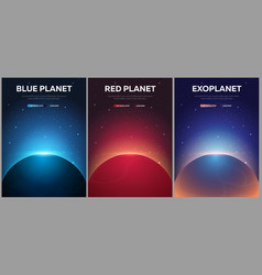 set of banners mars earth exoplanet vector image
