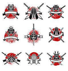 set of emblems with japanese swords samurai masks vector image