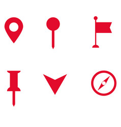 set of map pointer icon on white background flat vector image