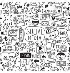 social media hand drawn texture pattern vector image