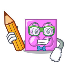 Student toy brick character cartoon vector