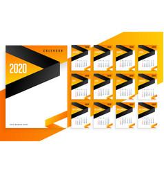 Stylish 2020 new year business calendar design vector