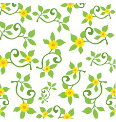 Sunflower and the branches in a floral spring vector