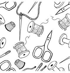 Tailoring seamless pattern background sewing vector