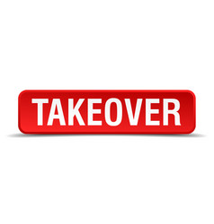 Takeover red 3d square button isolated on white vector