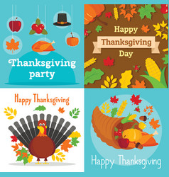 thanksgiving day banner set flat style vector image