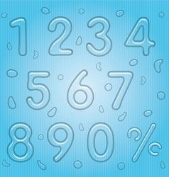 Transparent Water Drop Style Numbers Set vector image