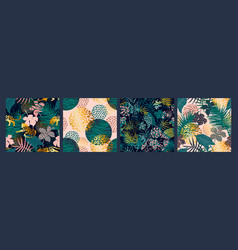 trendy seamless exotic patterns with palm animal vector image