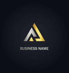 triangle line shape business gold logo vector image